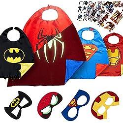 LAEGENDARY Disfraces de Superhéroes para Niños - Regalos de Navidad para Niños - 4 Capas y Máscaras - Logo Brillante de Spiderman - Juguetes para Niños y Niñas