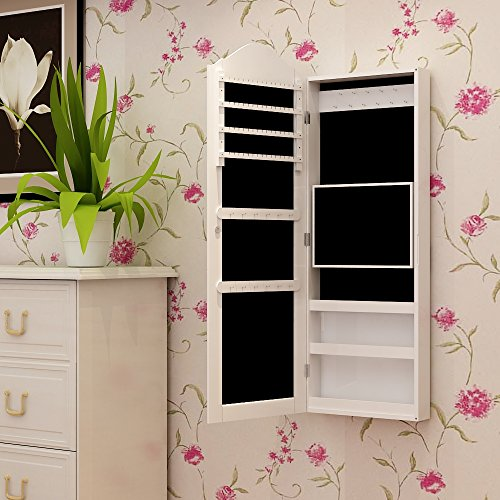 songmics armoire bijoux armoire murale rangement avec miroir blanc jbc83w. Black Bedroom Furniture Sets. Home Design Ideas