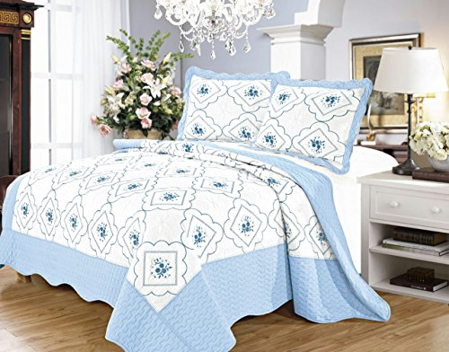 Tagesdecke 3 Stück gestickter Baumwollumkehrbarer König 240 x 260 cm Tagesdecke Bettdecke Set Bettwäsche Set + 2 Kissen Shams (König, Blau)
