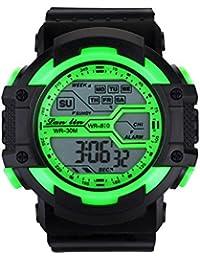 YAZILIND unisexe Sports Watch multifonction Led lumière numérique étanche montre-bracelet (vert)