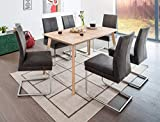 expendio hochwertiger Esstisch Viano XL 140(185) x80x75 cm Eiche Bianco massiv Esszimmertisch Massivholztisch Wohnzimmertisch Designertisch