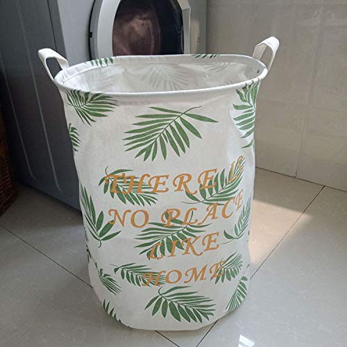 Laundry Basket Waterproof Laundry Storage Bucket Dirty Clothes Foldable Style Washing Basket For Toys Fine Green leaves 40X50cm -