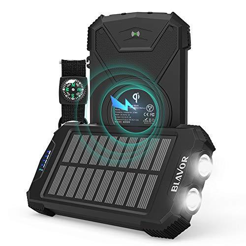 Wireless Powerbank 10000mAh,Qi Charger Externer Akku,Tragbare Notfall-Energie mit Type-C Eingangsports LED-Lich(IPX4 spritzwassergeschützt, stoßfest, Aufladen des Solarpanels, DC5V / 2.1A-Eingang)