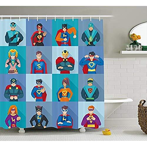 KYCD Superhelden Duschvorhang, Zeichen mit übernatürlichen Kräften in speziellen Kostümen Comic Humor Drucken, Stoff Badezimmer eingerichtet mit Haken, Multicolor 72