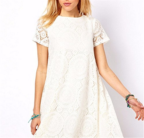 Robe manches Sexy col rond creux court Loose Women robes de soiree Casual Blanc