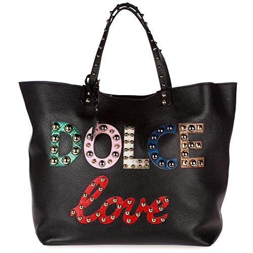 Dolce & Gabbana Leder Handtasche Damen Tasche Bag beatrice Schwarz