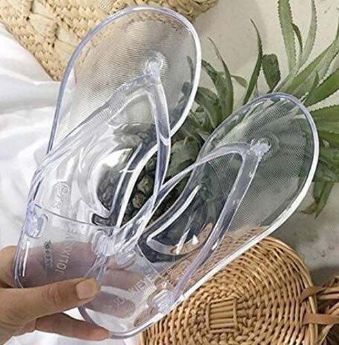 WDDNTX Sandali Donna Flip Flop Slip in Cristallo Trasparente Bagno Pantofole Femmina Donna Casual Jelly Pantofole Calzature Donna,40