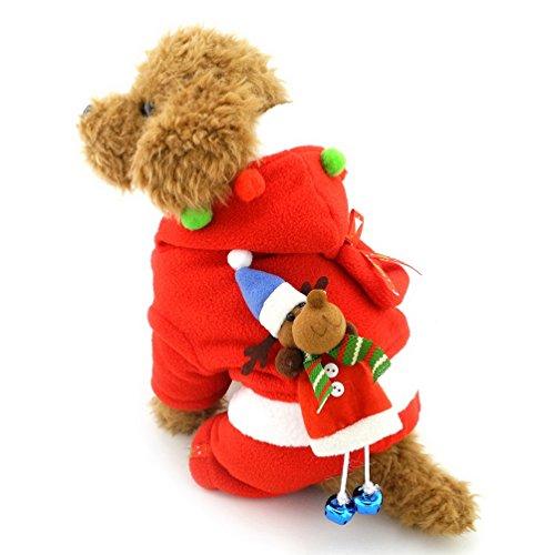 Kostüm Girl's Jester - selmai Hund Santa Claus Kostüm FLEECE MANTEL Small Pet Weihnachten Outfits rot