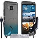 Yousave Accessories HTC One (M9) 2015Regentropfen SchutzHülle Cover mit Mini Eingabestift, Kfz-Ladegerät und Micro-USB Kabel–Blau/Transparent