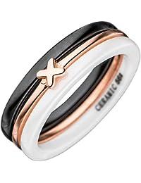 JOBO Damen Ring Keramik schwarz weiß mit 925 Sterling Silber tricolor Keramikring
