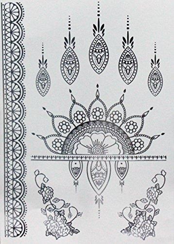 Henné métallisé Bijoux de tatouage tattoo Flash Argent Tattoo Colle pour le corps 354 de W étanche