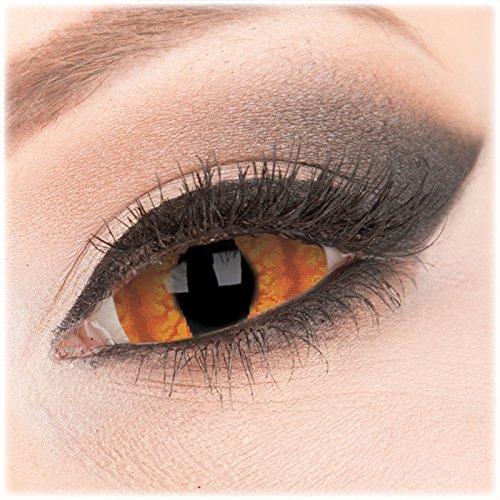 Farbige orange Crazy Fun Sclera 22 mm Kontaktlinsen 1 Paar 'Shadowcat' mit Behälter - Topqualität von 'Evil Lens' zu Fasching Karneval Halloween ohne Stärke