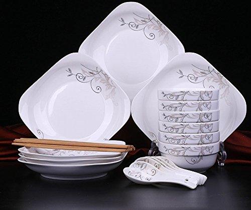 CWJ 6 Schalen 6 Tabletts 6 Löffel Haushaltsschüsseln Teller Löffel Geschirr Keramik Bone China Schalen Mikrowelle Besteck-Sets,Ein Sterling Besteck-sets