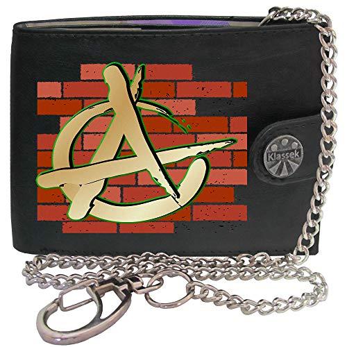 Anarchy Anarchie Symbol Wand Chaos Revolution Bild auf Herren Kette Geldbörse Portemonnaie KLASSEK Marken Echtes Leder RFID Schutz mit Münzfach Zubehör Geschenk mit Metall Box (Metall-anarchie-symbol)