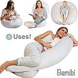 Coussin d'Allaitement et de Grossesse pour Dormir Polyvalent + Cale-bébé, Taie 100% Coton, Pregnancy pillow, Coton Amovible et Lavable, Hypoallergénique. Bamibi®