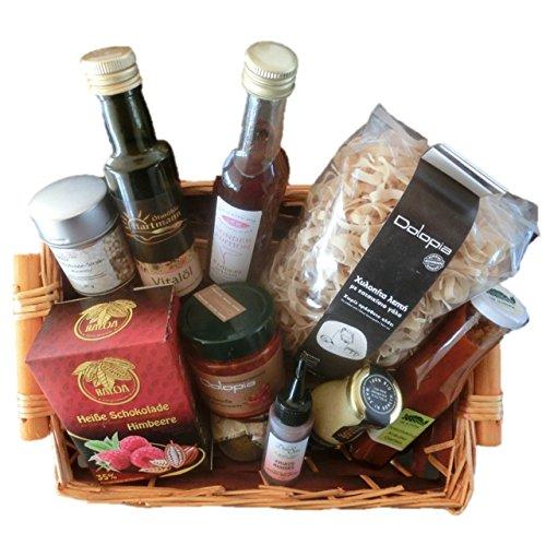 Geschenkkorb / Präsentkorb Delikatessen Vorzüglich mit Créma di Balsamico, Nudeln, Saucen, Öl, Essig, Gewürz und Heiße Schokolade | gut als Geschenkkorb gefüllt für Frauen,