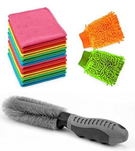 Confezione da 10 Panno in Microfibra +2 Guanti Microfibra +1 Spazzola per Auto lavaggio,Ideale per la Pulizia:Auto,Moto, Prodotti per Ufficio,Finestre, Mobili per la Casa e in Cucina