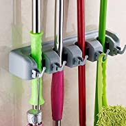Zollyss Multipurpose Plastic Wall Mounted Organizer Storage Hooks Mop and Broom Holder for Kitchen Garden and