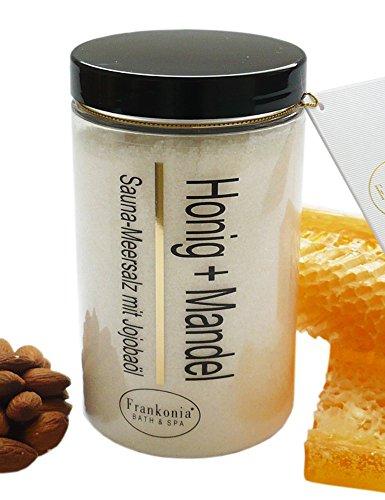 Sauna Salz Honig Mandel mit Jojobaöl, Körperpeeling 400 g (Und Salz Honig)