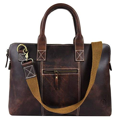 c52324f0b4b7 13 Inch Business Work Briefcase Carry Laptop Computer Book Handmade Rugged    Distressed ~ Everyday Office