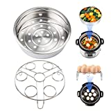 Steamer Basket Rack Set For Instant Pot Accessories, VINDAR Steam Baskets, Egg Steaming Holder Rack Stand, Fits 5,6,8qt 5/6Litre Pressure Cooker, Vegetable Steam Insert Pans Set, Stainless Steel, 21CM