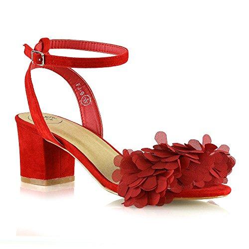 ESSEX GLAM Donna Tacco Basso Sandali Le Signore Frange Cinturino Alla Caviglia Scarpe Rosso Finto Scamosciato