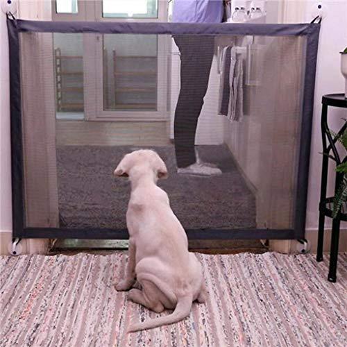 Tür Tragbare Pet Barrier Isoliert Zaun Folding Hund Barrier Mesh-Schutzzaun Schutzhunde Trennung Wache Tor (Color : Black, Size : 180 * 75cm)