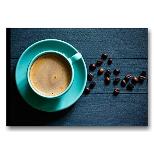 Quadro bar caffè - stampa su tela canvas 70 x 50 cm xxl | quadri moderni cucina blu shabby, decorazioni arredamento moderno ristorante, pannello decorativo orizzontale vintage | made in italy