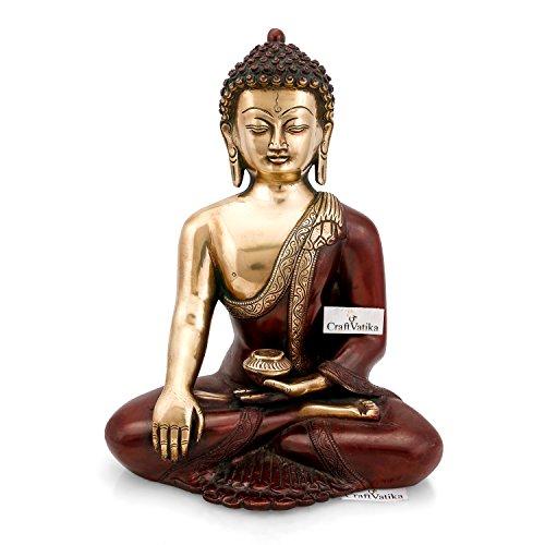 "CraftVatika 12\""grande latón acabado en bronce sentado Buda Shakyamuni estatua grande jardín Zen Escultura"