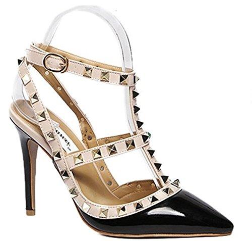 King Of Shoes , Bride cheville femme Schwarz LL59