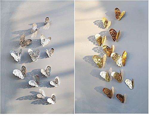 3D Schmetterling Aufkleber Papier Glitter Art Wandmalereien 24 Stück silber und gold Schmetterlinge