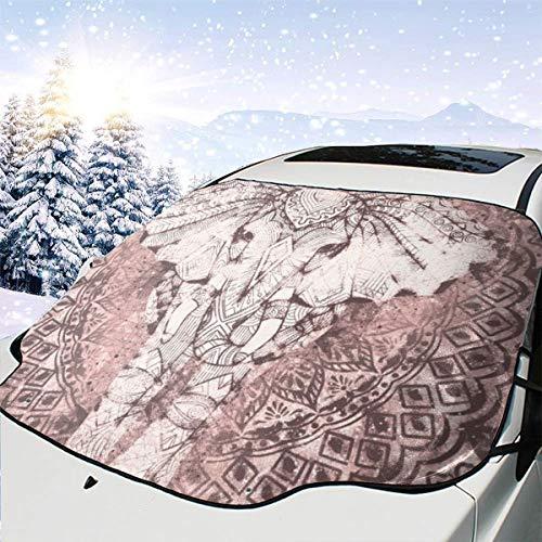Liliylove - Parasol para Parabrisas de Coche, diseño de Elefante Bohemio y Mandala, Mantiene el vehículo Fresco, fácil de Usar, se Adapta a la mayoría de los Parabrisas de Coche, SUV, Camiones