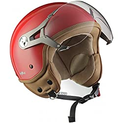 SOXON SP-325-MONO Red · Helmet Biker Piloto Mofa Casco Demi-Jet Vespa Scooter Urban Urbano Chopper Moto motocicleta Bobber Cruiser Retro Vintage · ECE certificado · visera incluido · incluyendo bolsa de casco · Rojo · M (57-58cm)
