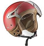 SOXON SP-325-MONO Red · Bobber Helmet Moto Demi-Jet Retro Pilot Scooter Casque Jet Vintage Cruiser Vespa Biker Mofa Chopper · ECE certifiés · visière inclus · y compris le sac de casque · Rouge · M (57-58cm)