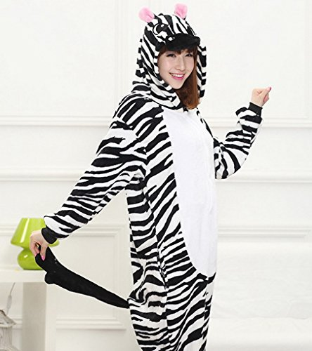 Smartstar Unisex Pyjama Cosplay Kostüm für Halloween Fasching Karneval, Einteilliges Tierkostüm Schlafanzug Nachtwäsche Jumpsiut für Mädchen/Damen und Jungen/Herren Zebra