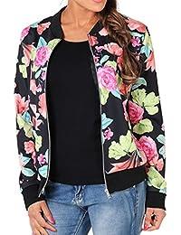 WOZNLOYE Donna Giacche a Fiori Cappotti a Maniche Lunghe Jacket Cappotto  Corto Coat Parka Autunno Giacca dd0e4f7a0b5