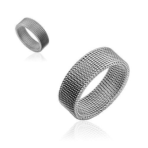 Herren Ring Edelstahl Herrenring Flexibel Mesh-Optik silber 49 - Ø 15,70 mm -