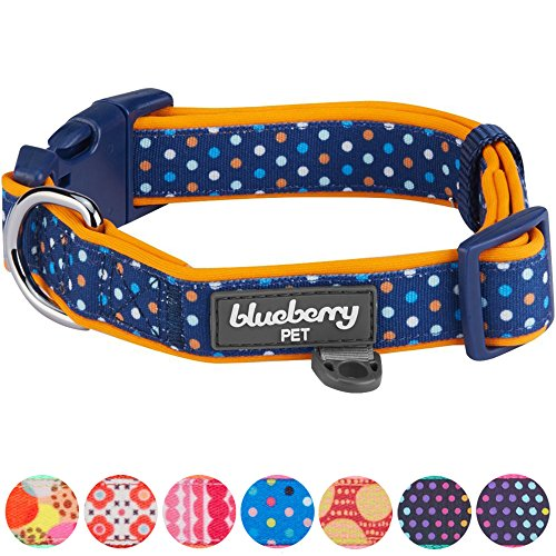 Blueberry Pet Bunte Tupfen Neopren Gepolstertes Hundehalsband in Passions-Orange, Hals 37cm-50cm, M, Verstellbare Halsbänder für Hunde