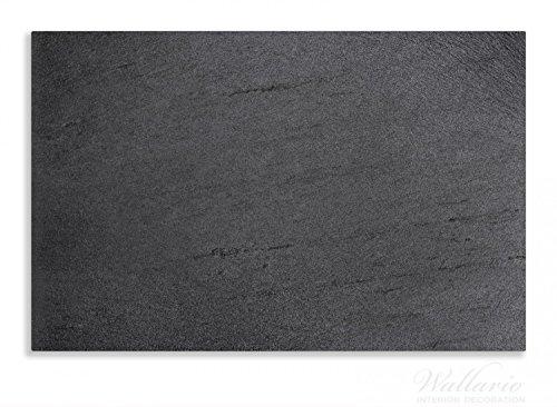 Wallario Herdabdeckplatte / Spritzschutz aus Glas, 1-teilig, 80x52cm, für Ceran- und Induktionsherde, Motiv Schwarze Schiefertafel Optik – Steintafel
