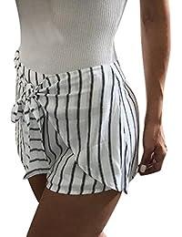 Shorts Femme été Chic,Fathoit Femmes Shorts rayés à Taille Haute Shorts  Occasionnels d été Short Pantalon Chaud… ef9507ab3e6
