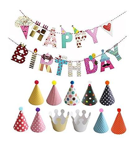 Geburtstag Dekoration Set, 1 Happy Birthday Girlande 230cm, 9 Partei