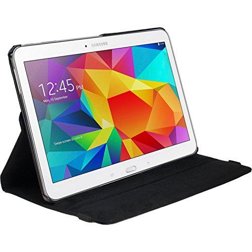 PhoneNatic Copertura di Cuoio Artificiale Compatibile con Samsung Galaxy Tab 4 10.1-360° Nero - Cover + Pellicola Protettiva