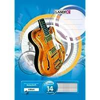 mit Hilfslinien blau aus holzfreiem Papier LANDRE 100050437 Notenheft 25er Pack Musikheft A4 8 Blatt Lineatur 14