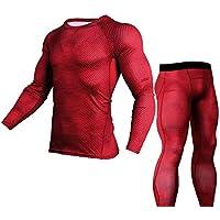 Chándal Hombres Traje de deportiva Hombres Compresión Leggings Deportes Running Yoga Athletic Pantalones + Camiseta de Compresión Traje