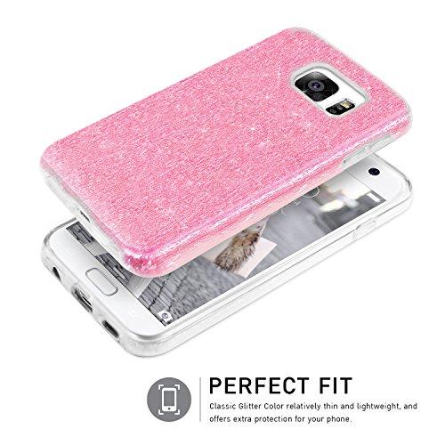 Bling Bling Samsung Galaxy S7 Hülle, TheBlingZ.® Bling Bling Strass Glitzer TPU Hybrid Schutzhülle für Samsung Galaxy S7 - Rosa Rosa