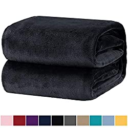 Bedsure Fleecedecke Kuscheldecke für Kinder Anthrazit, Mikrofaser Flanell Decke für Sofa & Sessel 130x150cm, super weiche warme Flauschige Wohndecke/Sofadecke/Reisedecke