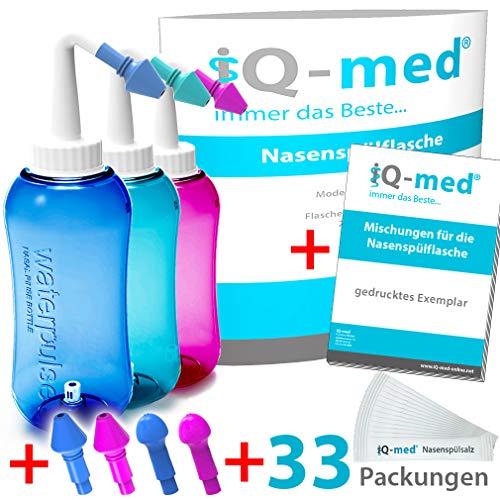 iQ-med Nasendusche 500ml + 33x Salz + Rezeptbuch + 4 Aufsätze (blau)