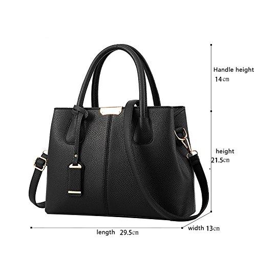 Tisdain Il raccoglitore semplice di cuoio dell'unità di elaborazione del sacchetto del messaggero della spalla di colore della borsa delle donne semplice di modo nero
