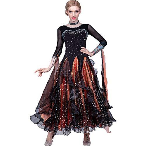 Lyrical Kleid Kostüm Dance - Frauen Lyrical Dance Dress Lob Dancewear Kostüm Faltenrock Durchsichtiges Mesh-Band Pailletten Langarm Maxi-Kleid für Ballsaal Latin Waltz Rumba,XL