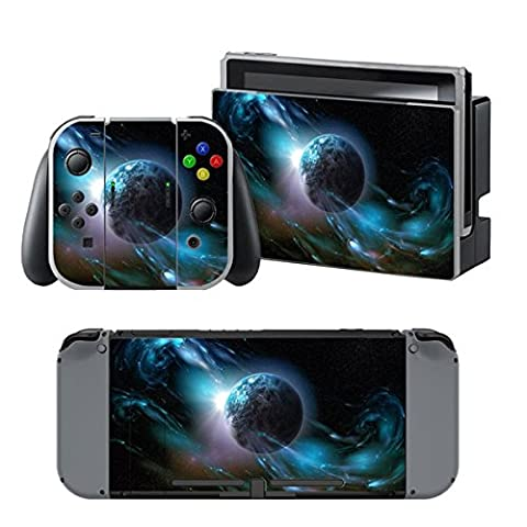 Chickwin Nintendo Switch Skin Vinyl Autocollant Decal Protection Sticker pour Nintendo Switch + 2 Thumb Grips (Noir Terre)